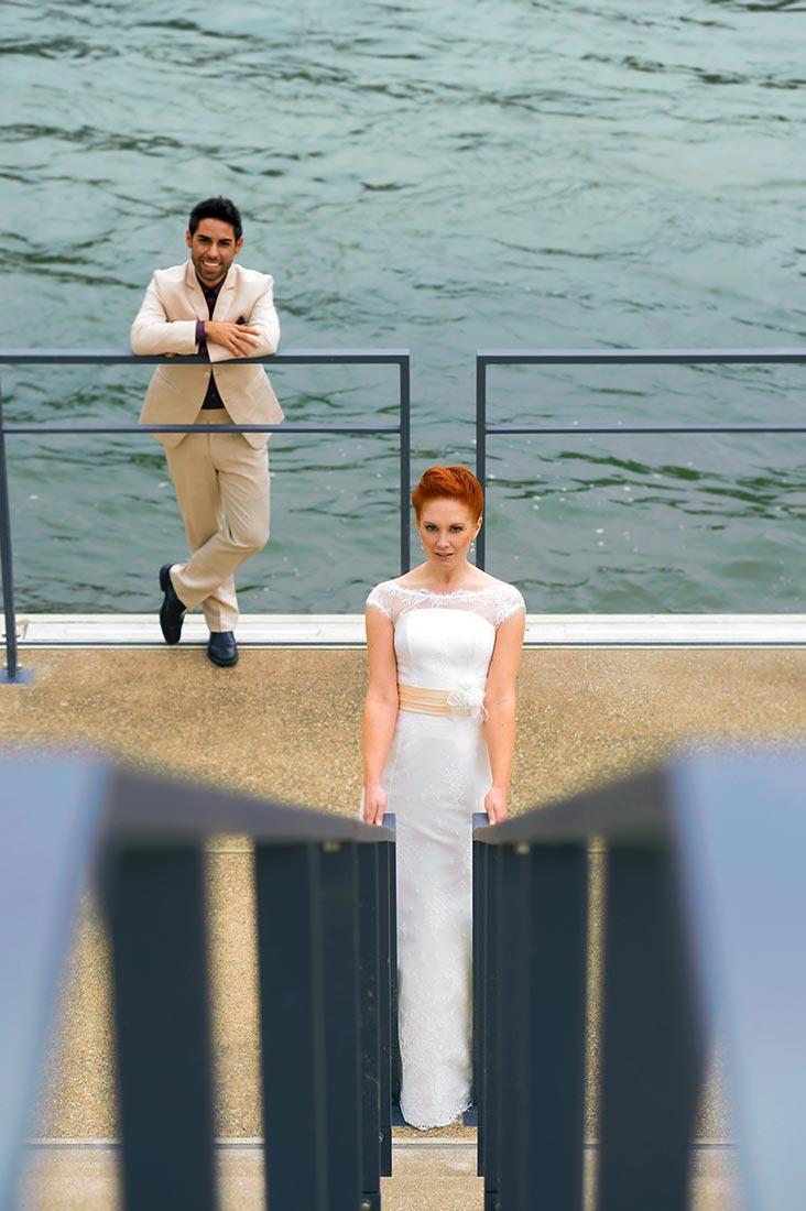 Hochzeitsfoto am Rhein in Koblenz